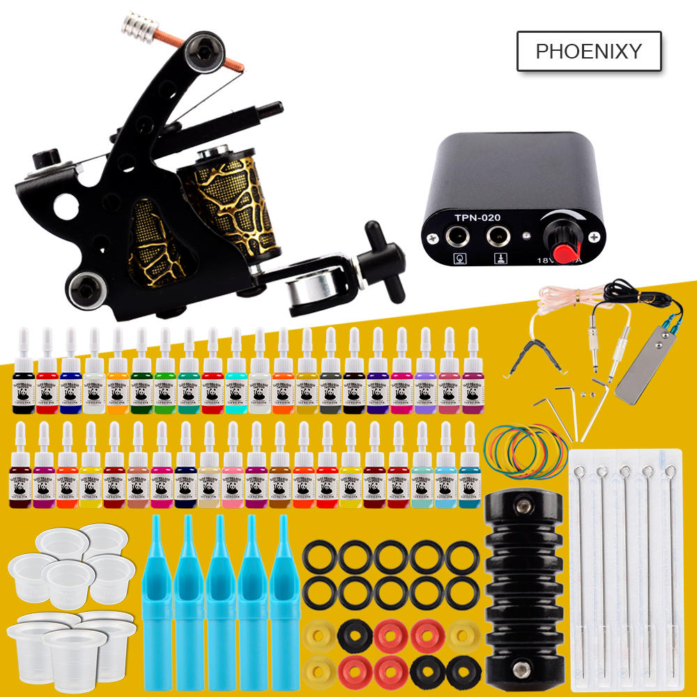 Starter Tattoo Kit One Coils Gun 20 Colors Pigment Inks Set