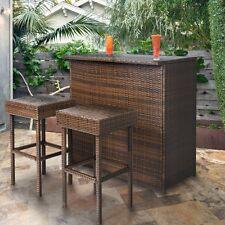 Set Outdoor Garden Furniture Cushion 3Chair Sofa+1 Table 4xPatio Rattan Wicker