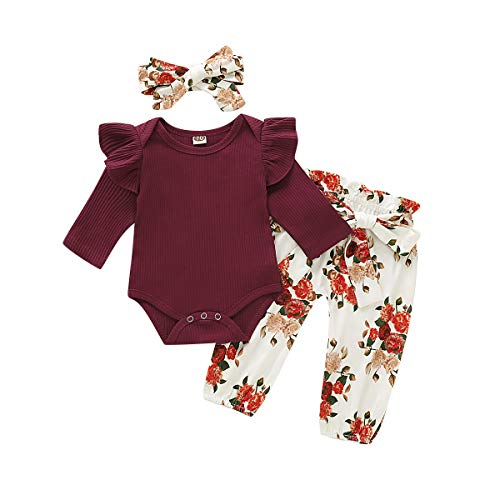 Soft Cotton Infant Girl Long Sleeve Clothes Sets CARETOO 3Pcs Baby Girls Bodysuit Tops Outfits Set