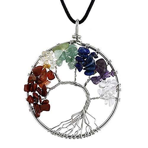 NIUTAH Chakra Gemstone Tree of Life Natural Tumbled Gemstone Wire Wrapped Pendant Necklace (Strawberry Quartz)
