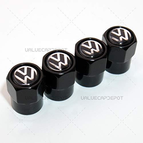 Black Caps UATUO Universal Hexagon Shape for Volvo Logo Emblem Car Wheel Tire Air Valve Cap Stem Dust Cover
