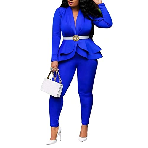 Womens Solid 2 Pieces Office Blazer Set Ruffle Hem Slim Fit Work Jacket High Waist Bodycon Long Pants Suits Plus Size