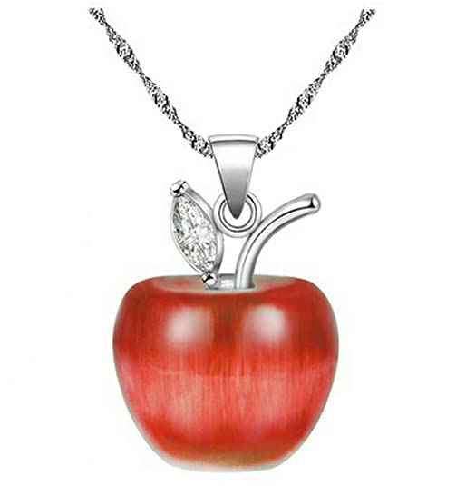e3c9e52ebf5c Uloveido Silver Plated Candy Apple Cubic Zirconia Pendant Necklace Earrings  Jewelry for Women YL007