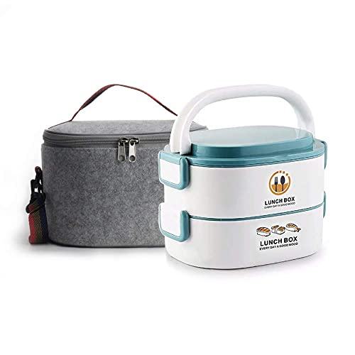 9d928ac69cde Lille Home 48oz Stackable Stainless Steel Compartment Lunch Box | 2-Tier  Bento Box/Food Container with Insulated Lunch Bag | With Individual Lid for  ...