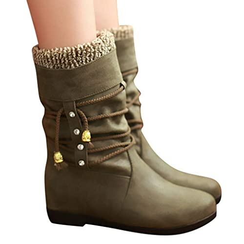 Womens Motorcycle Boot,Dainzuy Chunky Mid Heel Military Combat Boots Mid Calf Riding Ankle Boots with Buckle