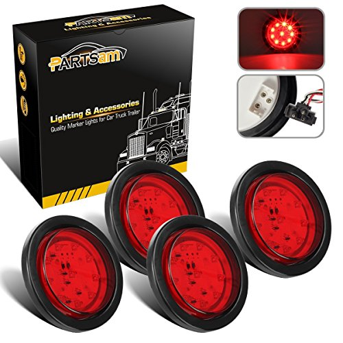 Partsam 4pcs 4 Inch 10 Led Round Red Stop  Turn Signal  Brake  Marker  Tail Led Lights Sealed Flush