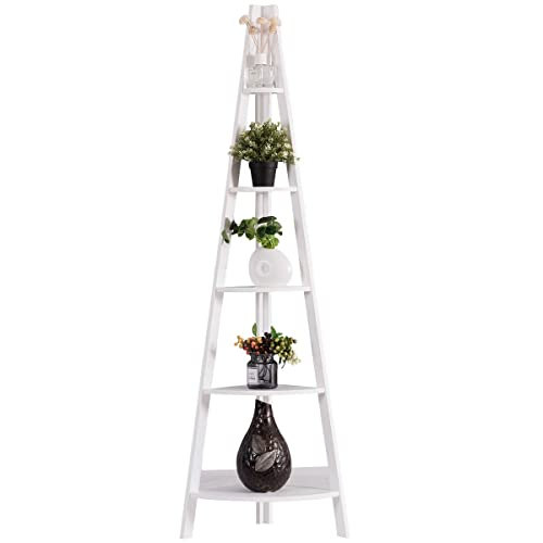 Storage in Home Office Living Room Bedroom Wooden Contemporary Rustic Style Bookshelf Storage Rack Tangkula 5-Tier Corner Ladder Shelf Bookcase for Display A-Shaped Durable Frame Plant Stand