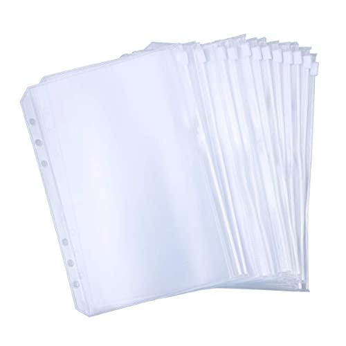 NUOBESTY 100pcs A4 Transparent Loose-Leaf Bag 11 Hole Paper Cover Protector Paper File Protect Bag