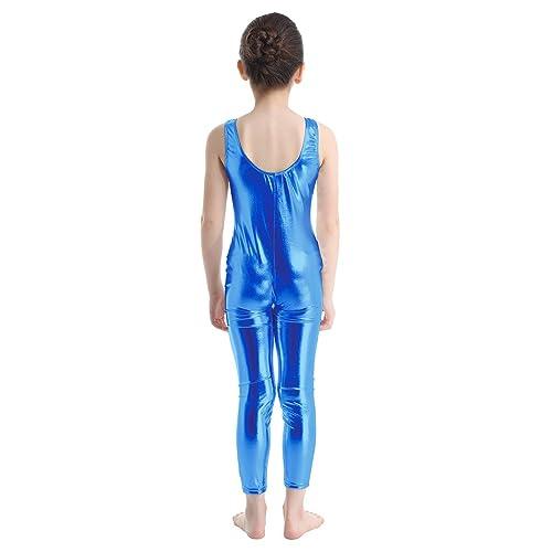 Agoky Girls Metallic Sleeveless Catsuit Gymnastics Leotard Unitard Dance Costume