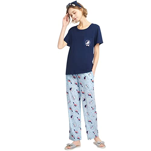 SANQIANG Womens Cute Bird Pattern Pajamas Set Cotton Sleepwear Soft Pj Set