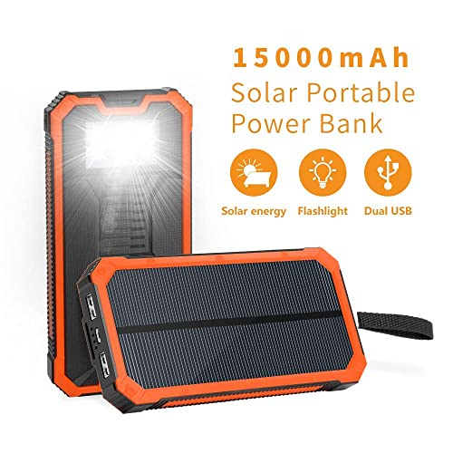 2 USB Ports+ Foldable Solar Panels-Fast Charging Smart IC Hiking Camping Solar Phone Charger 10.000mAh Power Bank-Portable Smartphone /& iPhone Battery Emergency Flashlight 4
