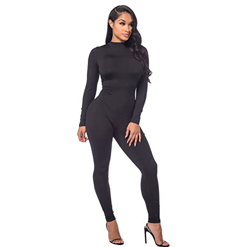 MEALIYA Women Embroidery Zipper High Neck Bodycon Jumpsuit Outfit Long Sleeve Rompers