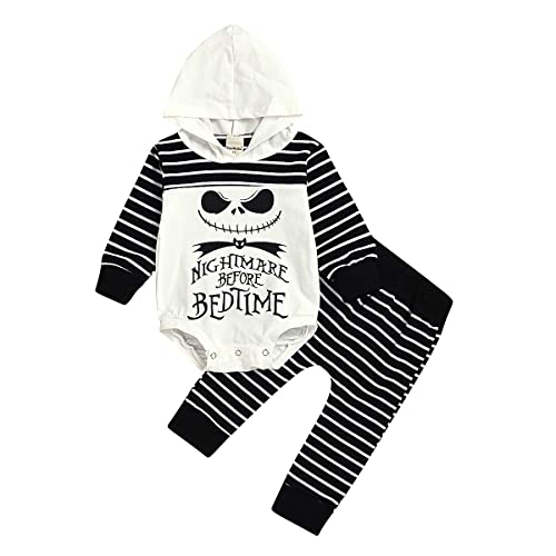 4T, White and Black Halloween Costume Letter Printed Newborn Infant Baby Boy Striped Hooded Sweatshirt and Pants Nightmare Before Bed Time