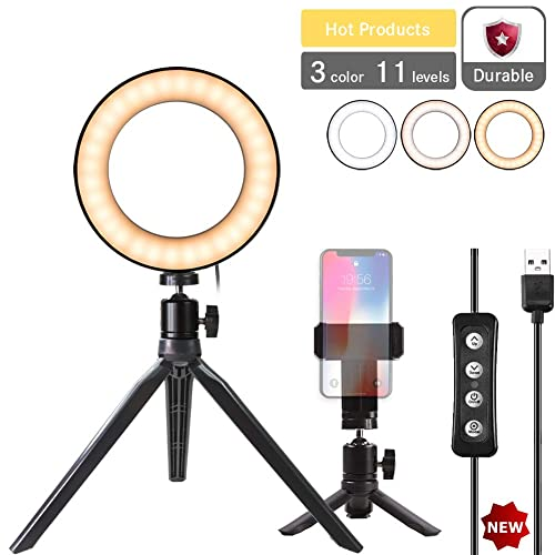 Ring Light with Stand and Cell Phone Holder for Makeup Live Streaming /& YouTube Video,Self-Timer Mini Desktop Led Ring Light