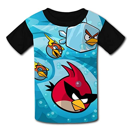 HOOPNUA Youth Angry Birds T-Shirt Fashion Crew Neck Short Sleeve Tee Polo Shirt