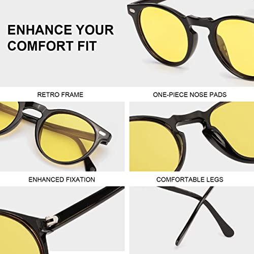 ELIVWR Night Driving Glasses for Men Women Round Retro Stylish Night Vision Glasses 100/% UV protection