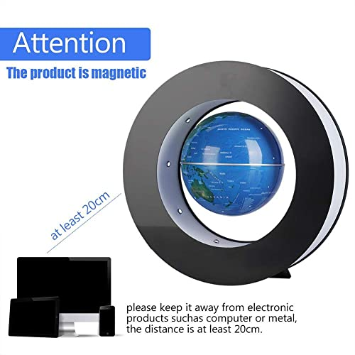 Fdit Magnetic Floating Globe Novelty Electronic Round Levitation Tellurion with LED Light Home Office Display Blue