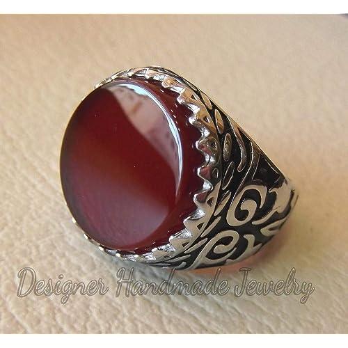 handmade yemen agate man ring natural stone sterling silver 925 oval cabochon semi precious gem ottoman arabic style all sizes jewelry