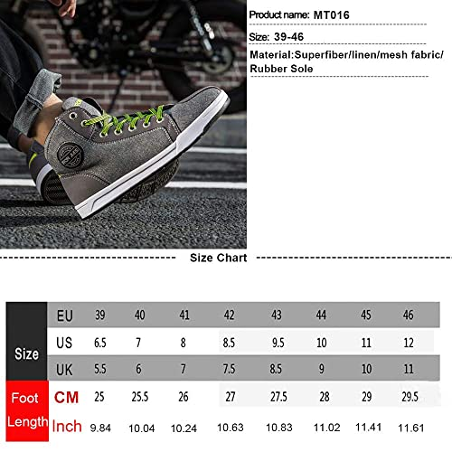 BORLENI Mens Motorcycle Boots Casual Non-Slip Motorcycle Shoes Motocross Protective Shoes Black