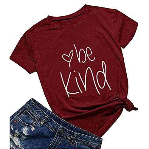 Akihoo Women Be Kind T Shirts Casual Long Sleeve Crew Neck Graphic Tops