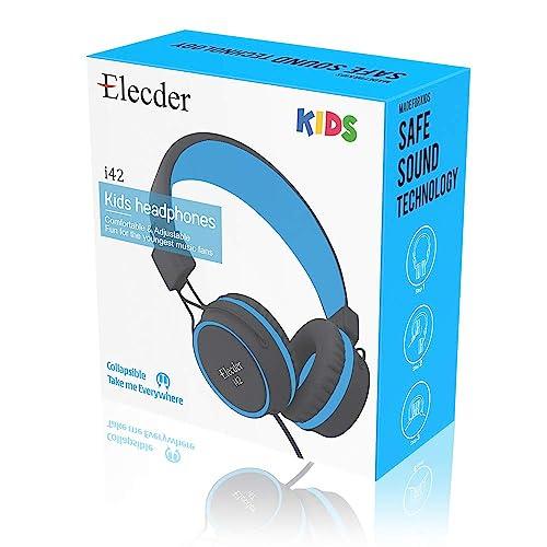 Foldable Adjustable On Ear Headphones Cellphones MP3//4 Kindle Tablet Airplane School 3.5mm Jack Compatible with iPad Elecder i42 Kids Headphones Computer Black//Blue Safe Volume Limited 85dB