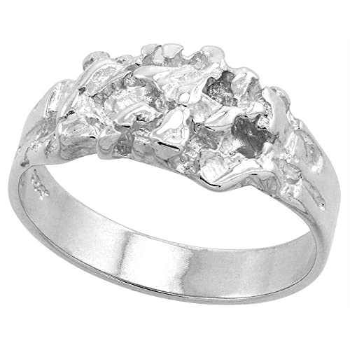 7//16 inch wide 11 mm Sterling Silver Diamond Cut Finish Nugget Ring