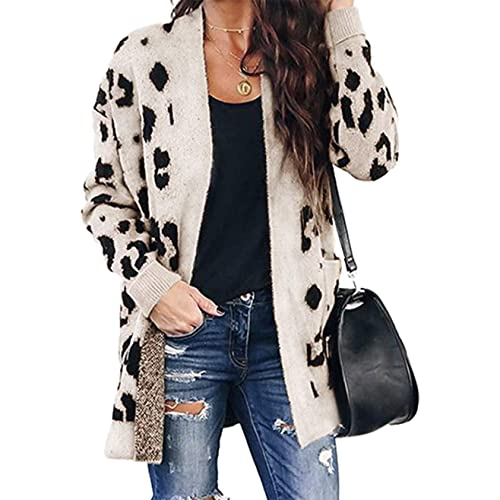 Btfbm Women Chic Leopard Print Cozy Sweater Pockets Button Down Open Front Loose Knitted Long Cardigan With Sleeves Buy Products Online With Ubuy Qatar In Affordable Prices B07xf2d8x4