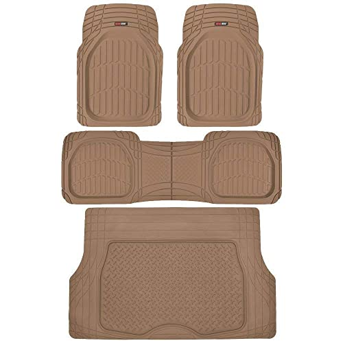 Motor Trend MT754BGAMw1 FlexTough Heavy Duty Car Floor Mats 4 PC 100/% Odorless /& All Weatherproof Beige