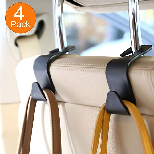 Black Unique Bargains Pair Gray Plastic Car Seat Headest Hanger Bags Oranizer Hook Holder Hang Purse or Grocery Bags Spotest Car Hooks headrest Hangers