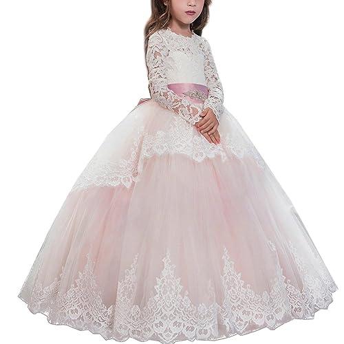 Kids Flower Girl Dresses Long Sleeve Bridesmaid Wedding Communion Princess Gown