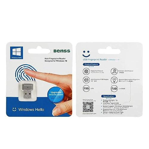 Fingerprin Scanner Wireless Biometrics Computer Security Login Lock with WQHL Fido Certification for PC Laptop Benss Fingerprint Reader Analyzer for Windows 10 Hello 2 Years Warranty Grey