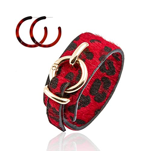 Leather Cheetah Print Accessories for Women Girls Cuff Bracelet Fashion Earrings Prom Party Bangle OUSABELLA Leopard Leather Bracelet for Women