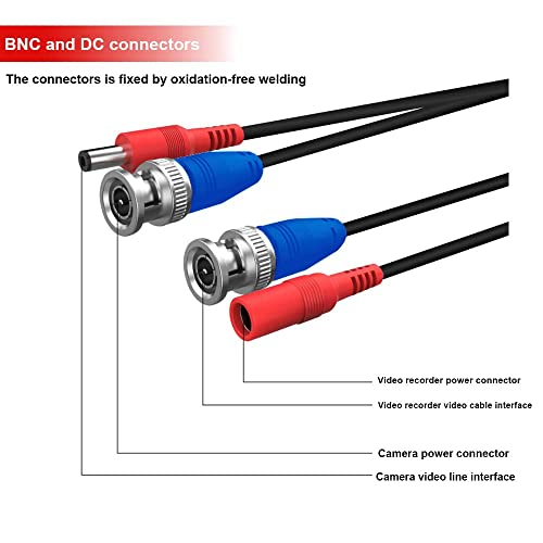 25 Feet Pre-Made Ready Made Power and Video CCTV Cable for HDCCTV Camera System