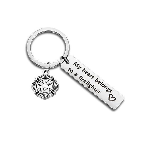Firefighter Keychain Gifts for Men Him Fireman Husband Boyfriend First Responder Gifts I Love You Key Chain for Anniversary Birthday Wedding Gifts for Hubby Valentine Gifts Firefighter Charm