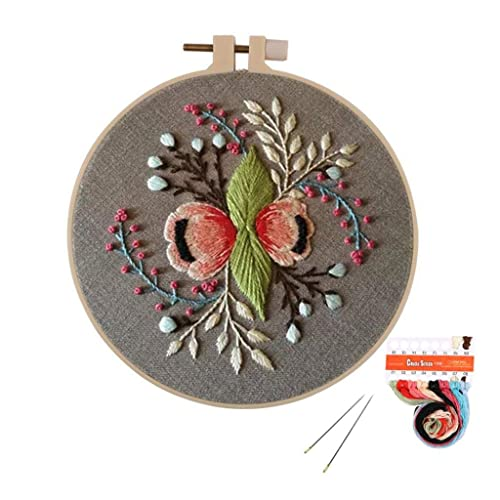Including Embroidery Cloth with Pattern,Plastic Embroidery Kits Kakeah 4 Pack Full Range of Stamped Embroidery Starter Kit with Pattern and Instructions