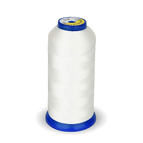 Drapery Jeans and Weaving Hair White High Strength Polyester Thread Nylon Sewing Thread 1800 Yard Size T70#69 210D//3 for Weaves Purses Upholstery Leather Beading
