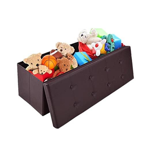 Faux Leather Storage Chest Footrest Seat Bench for Bedroom 43 L x 15 W x 15 H OOTORI Folding Storage Ottoman Bench