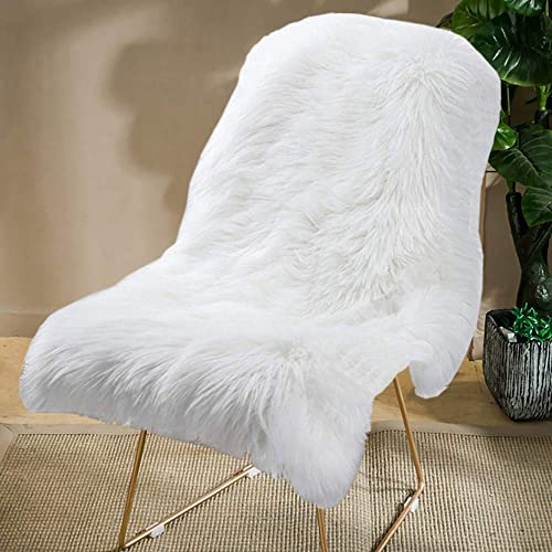 Square Sheepskin Seat Cushion cover,Luxurious Soft Fur Chair Pads Seat Cover Cream,16x16 Inch