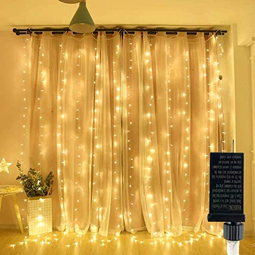 300 led curtain string lights plug in window fairy lights christmas waterproof twinkle lights 8 modes hanging lights for indoor outdoor wall bedroom