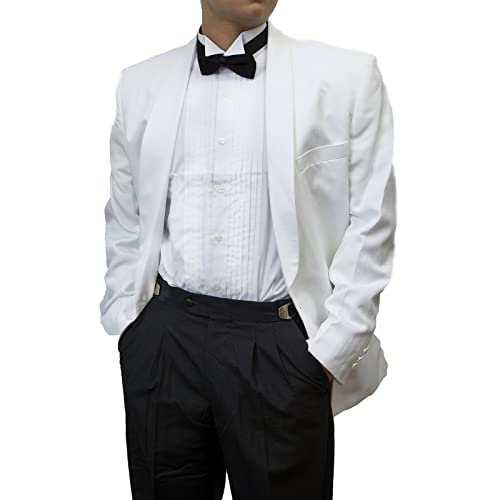SixStarUniforms Men Black Adjustable Pleated Front Wool Tuxedo Pants