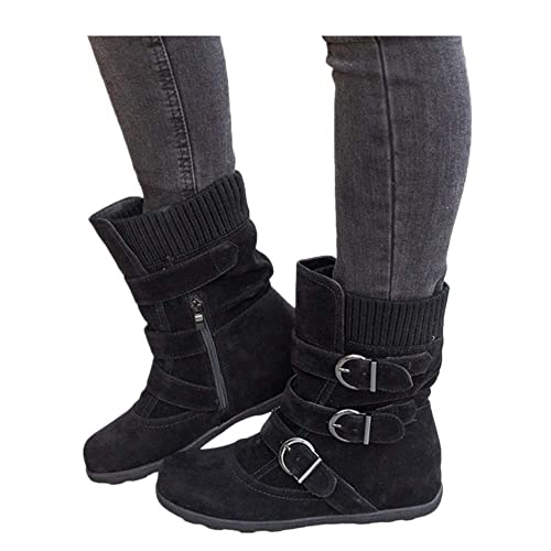 aa887c4c21391 Buy Women's Winter Snow Boots Zipper Buckles Strap Warm Ankle Mid Flat Boot  with Ubuy Qatar. B07HKW814K