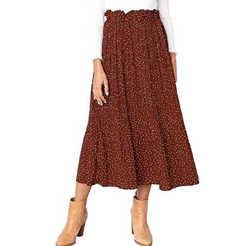 f6d11e011 Exlura Womens High Waist Polka Dot Pleated Skirt Midi Swing Skirt with  Pockets