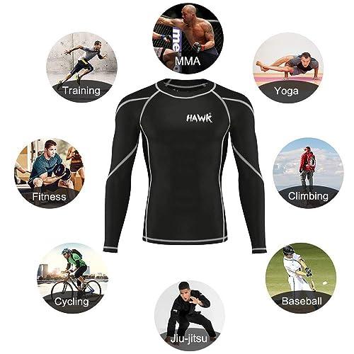 Mens Sports Workout Compression Shirts Gym No Gi Rashguard MMA BJJ Rash Guard