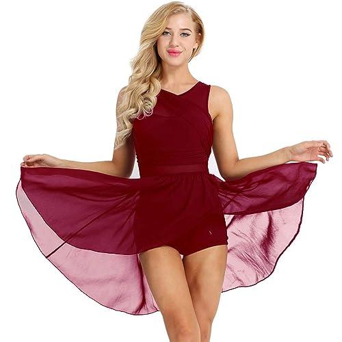 Yeahdor Womens Lyrical Latin Contemporary Costume Dresses V Neck Chiffon Asymmetric Short Ballet Dance Dress