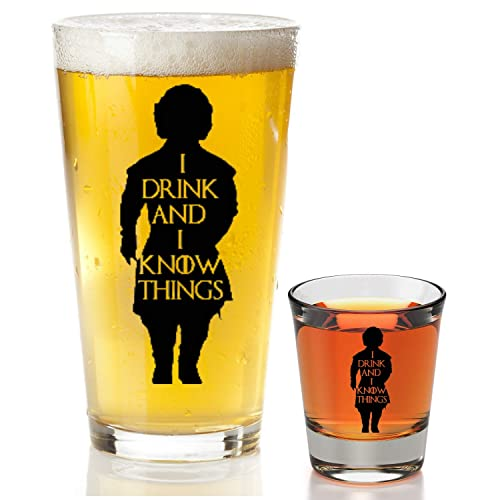Tyrion Lannister Funny Novelty Mug I Drink And I Know Things Beer Glass With Complimentary Shot Glass Game Of Thrones Merchandise