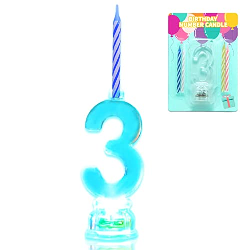 5pc Multicolor Flashing Number 6 Cake Topper /& Birthday Candle Set