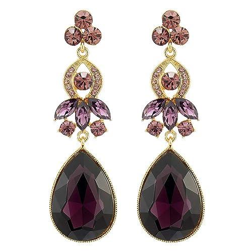 322fbdf76 Buy Elegant Dress Purple Crystal Rhinestone Cluster Teardrop Long Dangle  Drop Palace Statement Earrings with Ubuy Qatar. B07L2YB4FZ