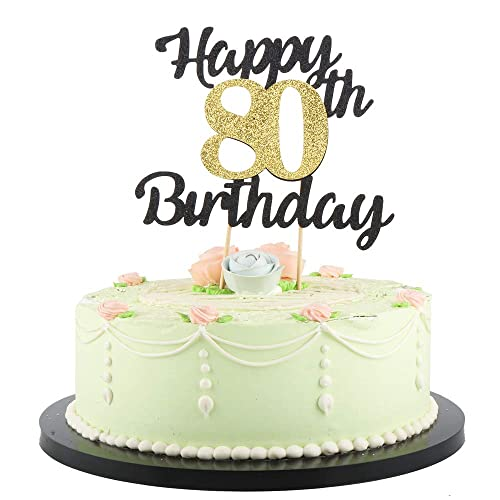 Magnificent Lveud Happy Birthday Cake Topper Black Font Golden Numbers 80Th Funny Birthday Cards Online Alyptdamsfinfo