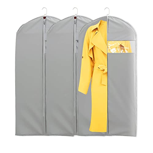 Bosoner Garment Cover Breathable Bag Clothes Dress Set of 3 Hanging Clothes Covers with Full Zipper Dust Proof Organizer Storage Protector for Suit Pants