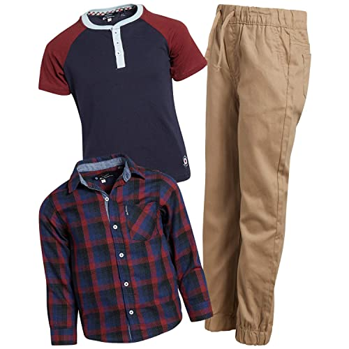 3-Piece Set Twill Jogger and Henley T-Shirt Ben Sherman Boys Long Sleeve Button Down Shirt